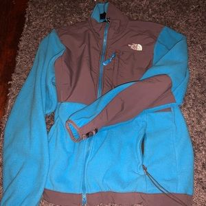 Blue north face zip up